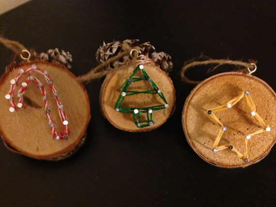Items similar to set of string art birch ornaments