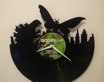 Godzilla vs Mothra Vinyl Record Clock