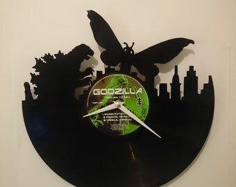 Godzilla vs Mothra Vinyl Record Clock