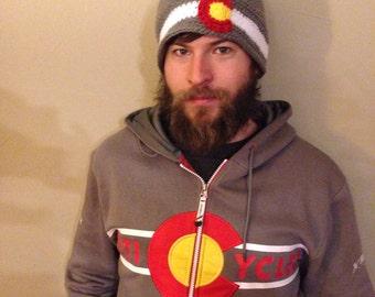 Colorado Flag Hat, Colorado crochet hat, Colorado Yeti Cycles hat