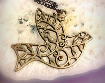 Cut-Out Bird Charm Necklace