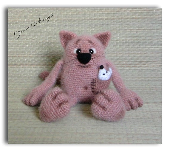 Amigurumi Mouse Cat Toy : Cat and Mouse OOAK Stuffed Animals Crochet Handmade Soft ...