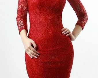 Red lace body-con dress, with see through sleeves, deep scoop open back.