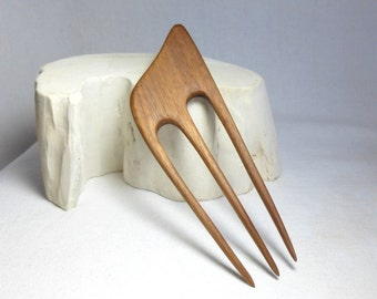 Satiny Smooth, Wooden Hair Fork/ Hairfork, Hand Carved from Walnut, Wood Hair Comb for Long Hair
