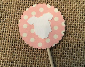 12 - Baby Pink Onsie Cupcake Topper