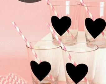 Chalkboard Heart Drinking Glass ~ Bachelorette Party Favor ~ Wedding Party Favor ~ Bridal Shower ~ Baby Shower