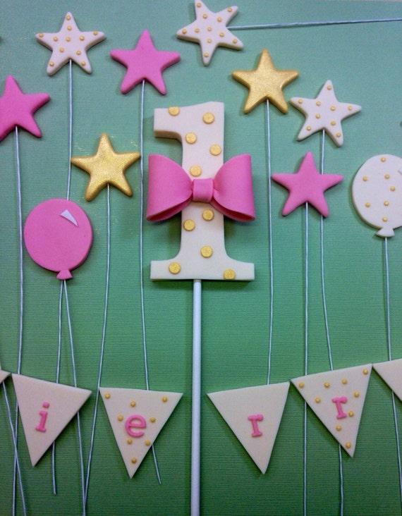 Fondant 1st birthday cake topper fondant 1st birthday 1st for Number 5 decorations