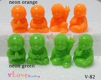 Resin little buddha beads, set of 4 styles, 15 x 23mm. (V-82).