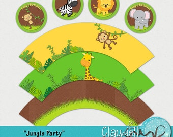 Jungle Party Printable Cupcake Wrapper and Topper - 300 DPI