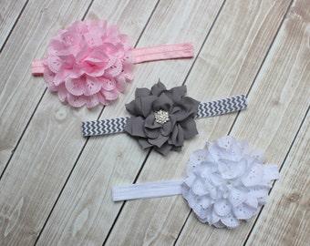Baby headband set -  Pink headband, Gray chevron headband, White headband - flower headband set
