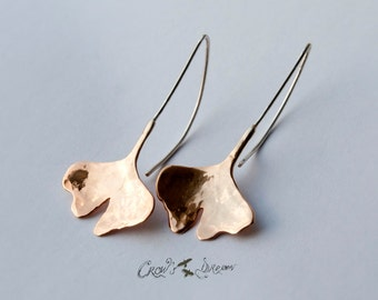 Ginkgo Biloba Leaf Rose Gold Plated Silver Earrings, Handcrafted Jewelry