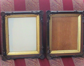 Pair Shadow Box Frame Walnut SEASHELL TRIM DESIGN