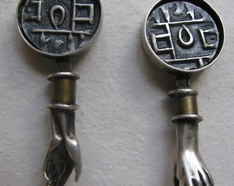 Sterling Silver and Brass One of a Kind Earrings with Hands and coins