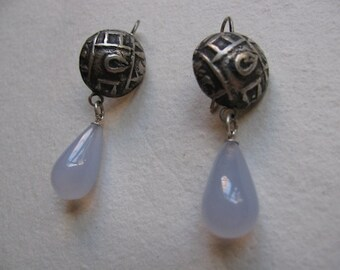 Sterling Silver Antique Coin Earrings with Chalcedony Drops