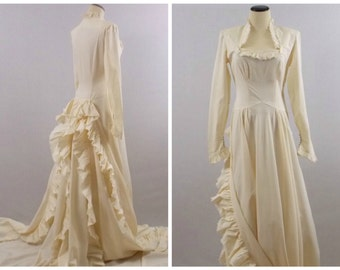 Edwardian Wedding Dress - 1900s Antique Wedding Gown - Vintage Turn of the Century Ivory Wedding Dress