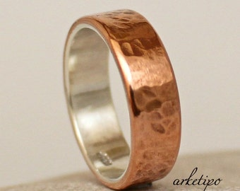 Personalized  sterling silver and copper Ring  Men's Women' Band  Wedding Custom Ring  Inside Engraved  Wide Band Rose Gold Copper Ring