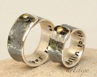 Personalized sterling silver Rings / Wedding Bands.. Couple Rings.. Oxidized - Hammered - Handmade