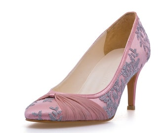Stella Pink Custom Made Satin Wedding Heels. Pink Chiffon Wedding Heels. Custom Made Wedding Heels