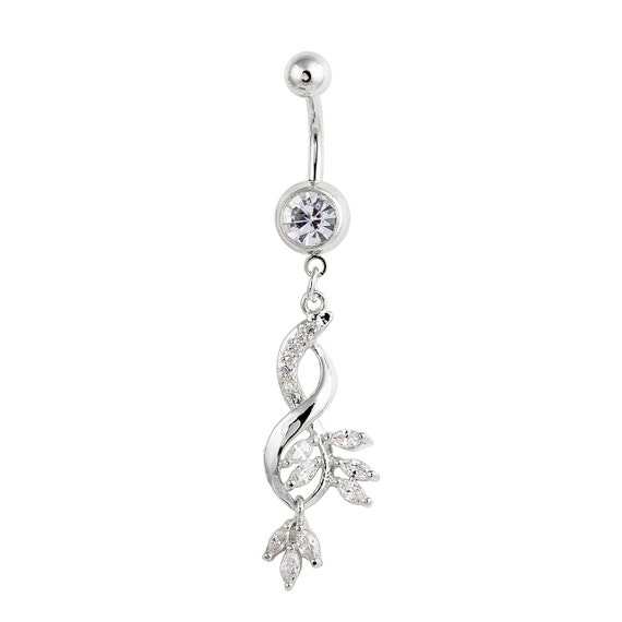 dangling infinity belly ring w clear marquise by