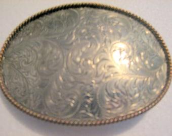 ON SALE!  Vintage Montana Silversmiths Columbus Mont German Silver Belt Buckle. Makers mark on back of buckle.