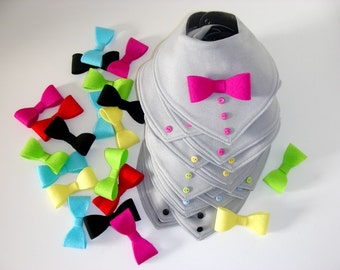 Attachable bow tie for baby boy bib - felt bow tie