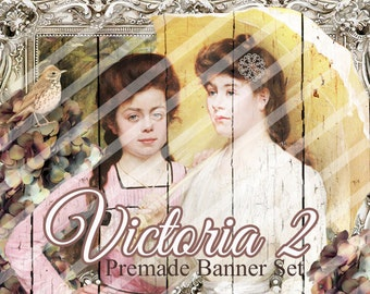 "Banner Set - Shop banner set - Premade Banner Set - Graphic Banners - Facebook Cover - Avatars - Bisiness Card - ""Victoria 2"""