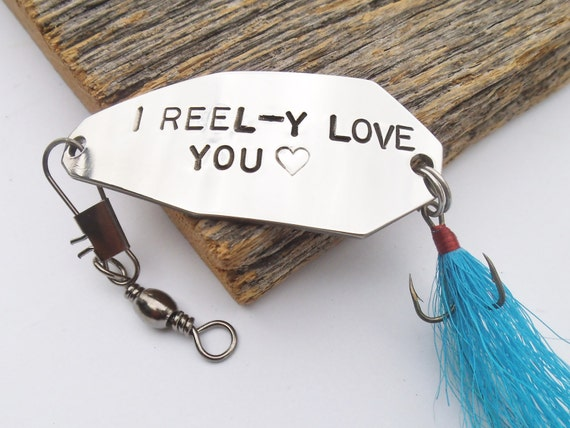 Ready to ship personalized men fishing lure i love you gift for Unique fishing gifts