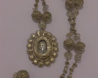 Vintage long filligree silver necklace