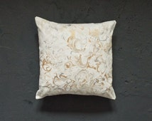 Metallic marble hand painted cushion cover. Gold and silver marbled white decorative throw pillow cover