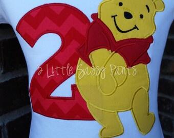 Winnie The Pooh Birthday Shirt, Applique Birthday Shirt,  Embroidered Shirt, Girls Birthday Shirt
