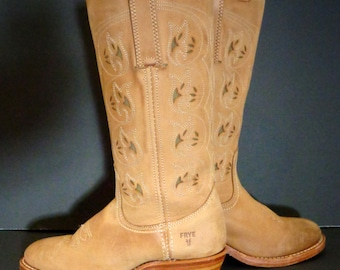 FRYE 77035 LTN Austin Flower Cut Out Brown Leather Riding Boots Women's Size 7