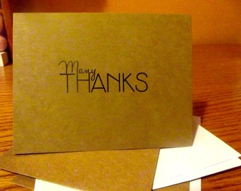 Thank You Note Cards: Set of 10 Kraft 'Many Thanks' Thank You Note Cards