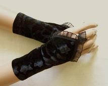 Gothic, Black Velvet, Short Arm Warmers, Wedding, Vampire Gloves, Sleeves for Goth Lolita, Elegant and Comfortable IDEAL for HER
