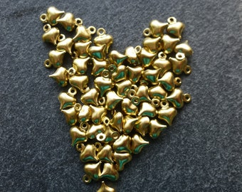 Brass heart charm.    9 mm x6 mm   set of 20