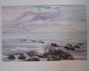 original watercolor, dawn at the beach, lavender, pinks and greys