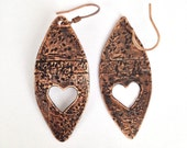 Copper earrings with heart, antiqued copper jewelry, oval shaped earrings, recycled copper
