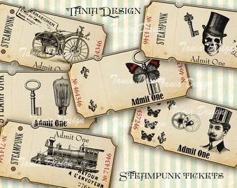 Steampunk tickets - 12 tickets- Digital Collage sheet printable images Background Ephemera Clip Art Embellishment