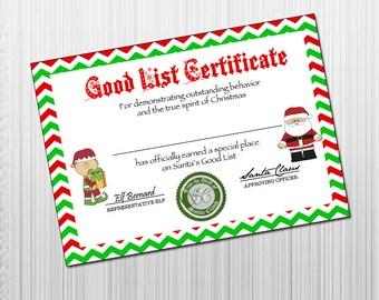 Printable Santa's Good List Certificate - INSTANT DOWNLOAD - Christmas ...