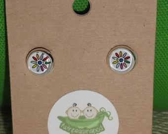 Daisy Stud Earrings - glass dome earring studs - silver earring post studs