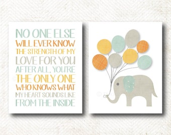 Instant Download | No one else will ever know the strength of my love for you, Nursery Art print, Elephant, Boys Room Art Print Set  (Boy61)