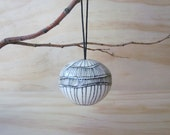 Black and White Lined Ornament. Graphic. Christmas ornament. Holiday Ornament. Tribal. Modern. Gift ideas. READY TO SHIP.