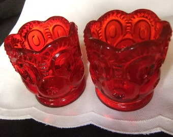 Vintage LG Wright Ruby Red Moon and Star Glass Toothpicks or Votive Candleholders, Set of 2