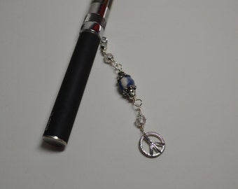 ECigarette Charm Peace Sign with Natural Sodalite Gemstone Bead