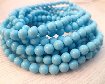 5MM Turquoise Beads / Blue Turquoise / Turquoise Strand / Spacer Beads / Gemstone Beads / Round Beads / Round Turquoise / Blue Ball Beads
