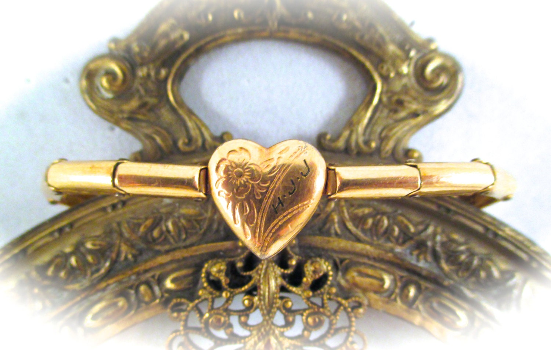 Vintage Gold Baby Bracelet Gold Filled Sweet Heart Locket
