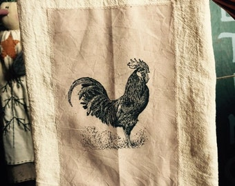 Rooster floursack tea towel