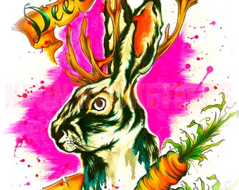 8x10 Jackalope Original Watercolor Rabbit Antlers Tattoo Art Print