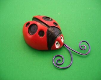 Cute, Big Round Red Ladybug, Wall Hanging, Handmade of Stoneware Clay
