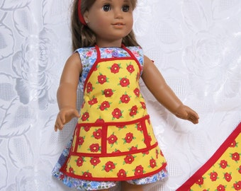 Apron for American girl doll/Australian girl doll and matching apron for child size 8 to 10