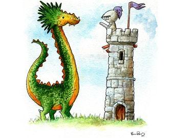 The Green Dragon Watercolor Print